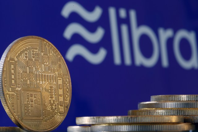 PARIS, FRANCE - OCTOBER 21: In this photo illustration, a visual representation of digital cryptocurrency coins sit on display in front of a Libra logo on October 21, 2019 in Paris, France. Several European countries, including France, are preparing to veto the virtual currency project Libra, dangerous for the global economy, according to the French Minister of Economy, Bruno Le Maire. Libra is a cryptocurrency and virtual currency project initiated by Facebook that includes a consortium of twenty-one major corporations and international NGOs. (Photo by Chesnot/Getty Images)