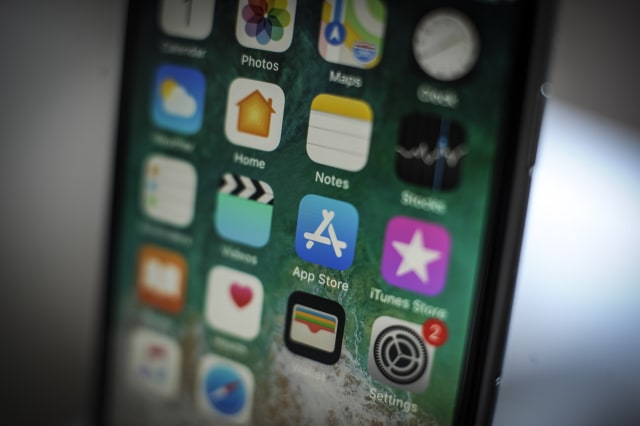 The App Store application is seen on an iPhone on October 1, 2018. (Photo by Jaap Arriens/NurPhoto via Getty Images)
