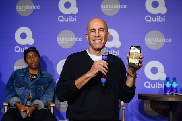 PARK CITY, UTAH - JANUARY 24: Jeffrey Katzenberg demonstrates Quibi's Turnstyle technology at Sundance 2020 on January 24, 2020 in Park City, Utah. (Photo by Daniel Boczarski/Getty Images for Quibi)