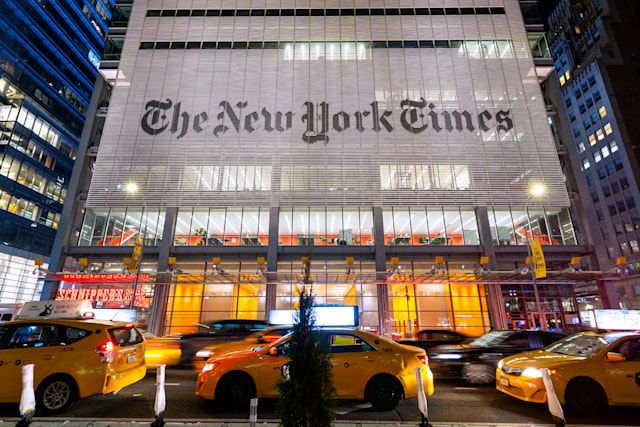 The New York Times Building, New York City, New York, America  Photograph taken at night on Jan 15th 2020