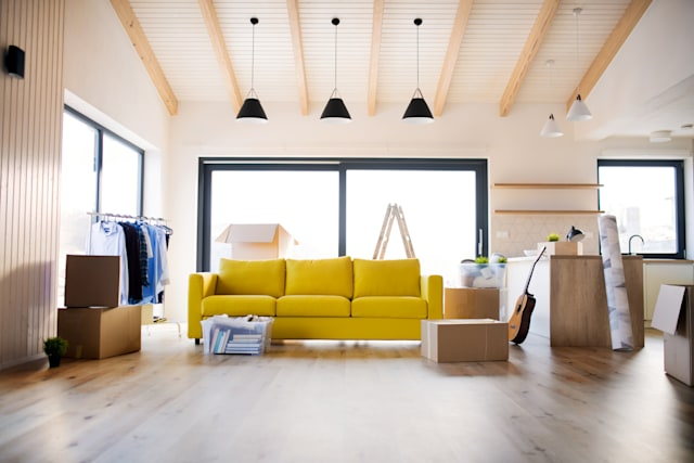 Furnishing a house and relocation concept.