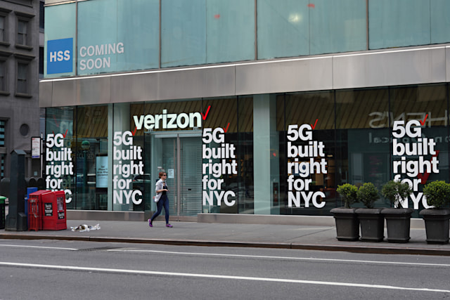 NEW YORK, NEW YORK - APRIL 05: A view of a Verizon store advertising 5G amid the coronavirus pandemic on April 05, 2020 in New York City. COVID-19 has spread to most countries around the world, claiming almost 70,000 lives with infections nearing 1.3 million people.  (Photo by Cindy Ord/Getty Images)