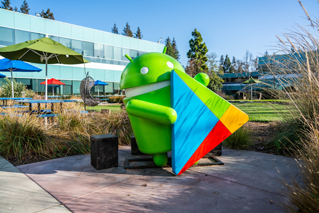 MOUNTAIN VIEW, UNITED STATES - 2020/02/23: Google Android robot seen at Google campus. (Photo by Alex Tai/SOPA Images/LightRocket via Getty Images)