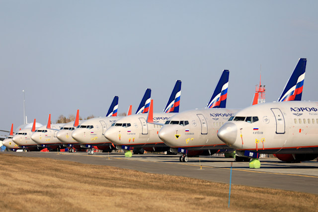 KRASNOYARSK TERRITORY, RUSSIA - APRIL 7, 2020: Aeroflot passenger planes at Krasnoyarsk International Airport. Russia has halted all international flights since March 27, 2020, amid the ongoing COVID-19 coronavirus pandemic, except for repatriation flights. Since April 4, every repatriation flight has to be pre-arranged; Russian citizens arrive at Sheremetyevo Airport only, with the number of passengers per day limited to 500. The passenger traffic in Russian airports has decreased by 89% compared to April 2019. Andrei Samsonov/TASS (Photo by Andrei Samsonov\TASS via Getty Images)