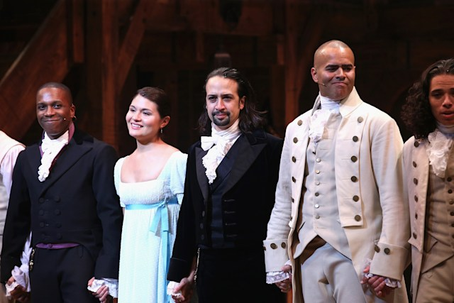 "NEW YORK, NY - AUGUST 06: (L-R) Leslie Odom; Jr., Phillipa Soo, Lin-Manuel Miranda and Christopher Jackson attend ""Hamilton"" Broadway Opening Night at Richard Rodgers Theatre on August 6, 2015 in New York City.  (Photo by Neilson Barnard/Getty Images)"