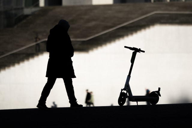 BERLIN, GERMANY - JANUARY 10: The silhouette of an e-Scooter is pictured on January 10, 2020 in Berlin, Germany. (Photo by Florian Gaertner/Photothek via Getty Images)