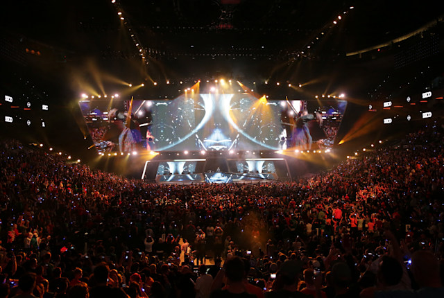 PHILADELPHIA, PA - SEPTEMBER 29: Fans watch the opening entertainment of the Overwatch League Grand Finals at the Wells Fargo Center on September 29, 2019 in Philadelphia, Pennsylvania. (Photo by Hunter Martin/Getty Images)