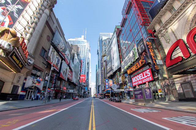 NEW YORK, NEW YORK - MAY 07: The view looking east along an empty 42nd street in Times Square amid the coronavirus pandemic on May 7, 2020 in New York City. COVID-19 has spread to most countries around the world, claiming over 270,000 lives with over 3.9 million cases. (Photo by Alexi Rosenfeld/Getty Images)