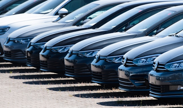 15 May 2020, Lower Saxony, Lehrte: New Volkswagen Golf vehicles are parked in a parking lot of a logistics company. As expected, the Volkswagen Group has come under heavy pressure due to the Corona sales restrictions. The Group brands delivered 473,500 vehicles worldwide in April, 45.4 percent less than in the same month last year. The corona crisis has plunged the entire German economy into recession. Photo: Julian Stratenschulte/dpa (Photo by Julian Stratenschulte/picture alliance via Getty Images)