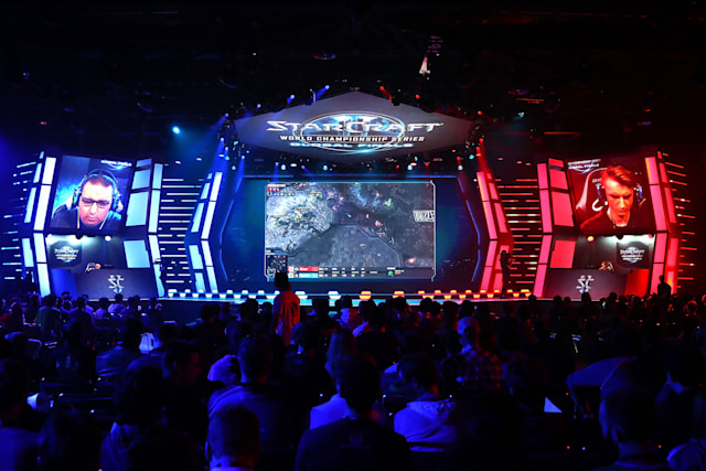 ANAHEIM, CA - NOVEMBER 3: SpeCial competes with Elazer during the StarCraft World Championship at BlizzCon 2017 at Anaheim Convention Center on November 3, 2017 in Anaheim, California. BlizzCon is the site of the Overwatch World Cup 2017 eSports tournament. (Photo by Joe Scarnici/Getty Images)
