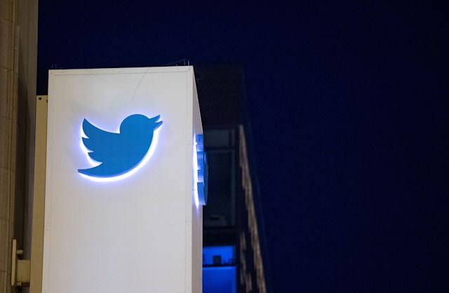 The Twitter logo is seen on a sign at the company's  headquarters in San Francisco, California on November 4, 2016.  / AFP PHOTO / JOSH EDELSON        (Photo credit should read JOSH EDELSON/AFP via Getty Images)