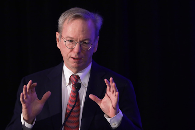 """WASHINGTON, DC - NOVEMBER 05:  Executive Chairman of Alphabet Inc., Google's parent company, Eric Schmidt speaks during a National Security Commission on Artificial Intelligence (NSCAI) conference November 5, 2019 in Washington, DC. The commission on Artificial Intelligence held a conference on """"Strength Through Innovation: The Future of A.I. and U.S. National Security.""""  (Photo by Alex Wong/Getty Images)"""