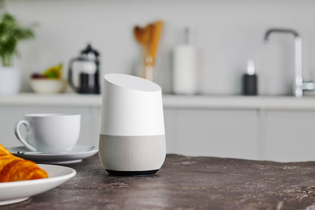 A Google Home smart speaker photographed on a kitchen counter, taken on January 9, 2019. (Photo by Olly Curtis/Future via Getty Images)