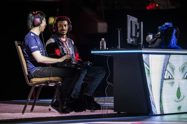 LAS VEGAS, NV - AUGUST 05:  Dominique 'SonicFox' McLean takes on  Goichi 'GO1' Kishada in the DragonBall FighterZ finals during EVO 2018 at the Mandalay Bay Events Center on August 5, 2018 in Las Vegas, Nevada.  (Photo by Joe Buglewicz/Getty Images)