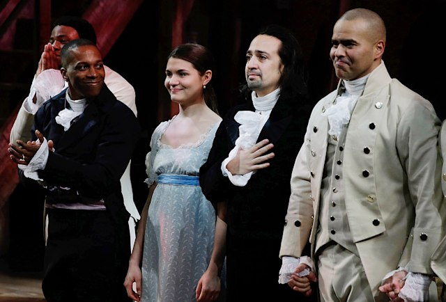 """NEW YORK, NY - FEBRUARY 17: Leslie Odom Jr., Phillipa Soo, Lin-Manuel Miranda and Christopher Jackson attend """"Hamilton"""" Opening Night at The Public Theater on February 17, 2015 in New York City. (Photo by John Lamparski/WireImage)"""