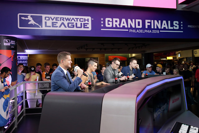 PHILADELPHIA, PA - SEPTEMBER 29: The State Farm esports desk at the Overwatch League Grand Finals at the Wells Fargo Center on September 29, 2019 in Philadelphia, Pennsylvania. (Photo by Hunter Martin/Getty Images)