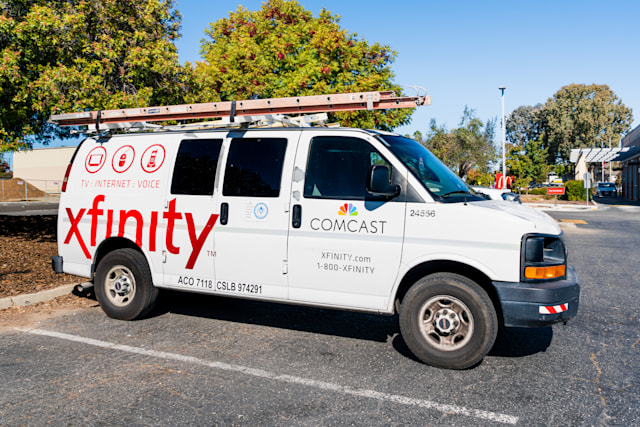 Oct 22, 2019 Santa Clara / CA / USA - Comcast Cable / Xfinity service stopped in a parking lot; Comcast is the largest home internet service provider in the United States