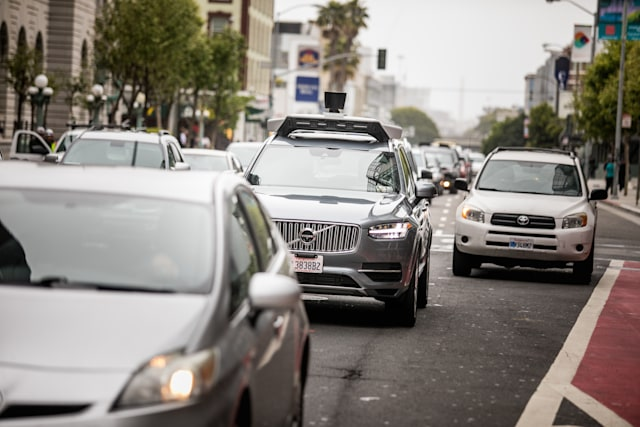 San Francisco, California, USA - May 16, 2017: An Uber self-driving Volvo XC90 SUV on 7th street and Market part of Uber's testing program within San Francisco that resumed in March.