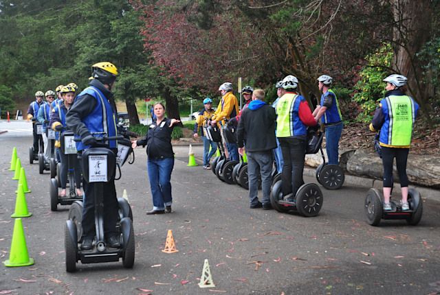 SAN FRANCISCO, CA - MAY 13, 2013: Visitors to San Francisco, California, receive lessons on operating the Segway PT (personal transporter) from Electric Tour Company instructors before they take off on their own from the city's Golden Gate Park. (Photo by Robert Alexander/Getty Images)