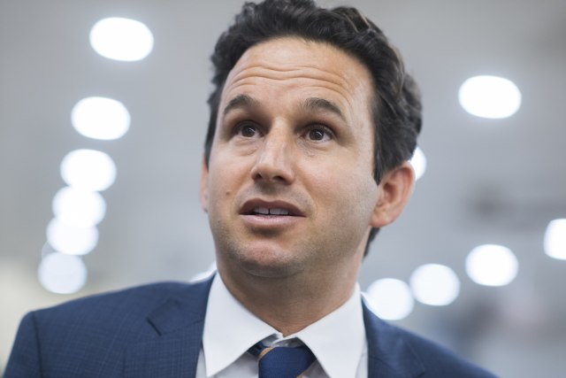 UNITED STATES - JULY 16: Sen. Brian Schatz, D-Hawaii, talks with reporters in the basement of the Capitol on Tuesday, July 16, 2019. (Photo By Tom Williams/CQ Roll Call)