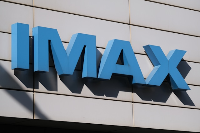 THE HAGUE, NETHERLANDS - JUNE 2: A logo of IMAX is pictured at a Pathé cinema on June 2,  2020 in The Hague, Netherlands. From June 1, cinemas has reopened with a limitation for a maximum of 30 people, seated 1.5 metres apart and by reservation only.(Photo by Yuriko Nakao/Getty Images)