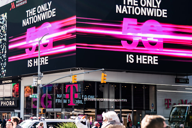 NEW YORK CITY, UNITED STATES - 2020/02/20: T-Mobile 5G nationwide network advertisement seen in Midtown Manhattan. (Photo Illustration by Alex Tai/SOPA Images/LightRocket via Getty Images)