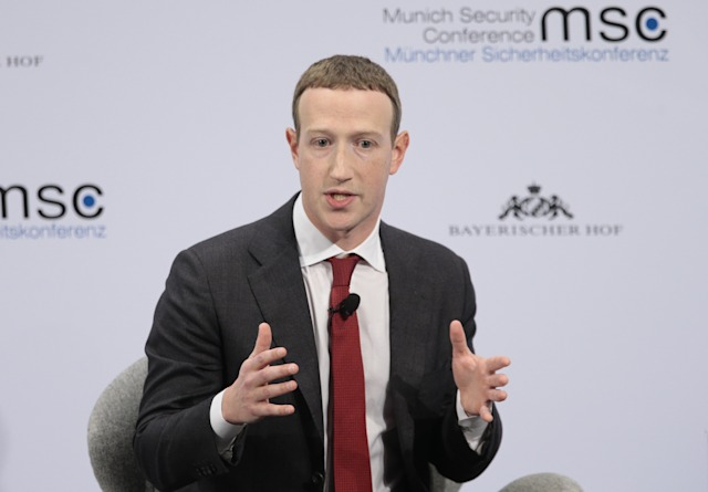 MUNICH, GERMANY - FEBRUARY 15: Founder and CEO of Facebook Mark Zuckerberg makes a speech as he attends the 56th Munich Security Conference at Bayerischer Hof Hotel in Munich, Germany on February 15, 2020. (Photo by Abdulhamid Hosbas/Anadolu Agency via Getty Images)