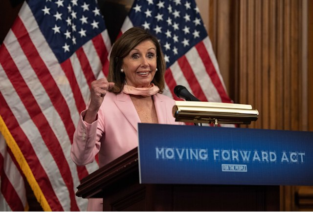 US House Speaker Nancy Pelosi speaks during the unveiling of the Moving Forward Act, legislation to rebuild the country's infrastructure, at the US Capitol in Washington, DC, on June 18, 2020. (Photo by NICHOLAS KAMM / AFP) (Photo by NICHOLAS KAMM/AFP via Getty Images)
