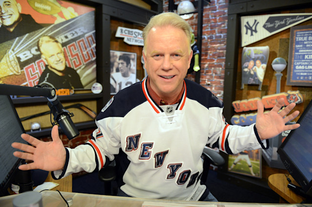 "WFAN Host Norman Julius ""Boomer"" Esiason. Boomer Esiason wearing his NYC  Ranger jersey on is Radio show New York Manhattan 345 Hudson St. WFAN  studio. (Photo By: Marcus Santos/NY Daily News via Getty Images)"