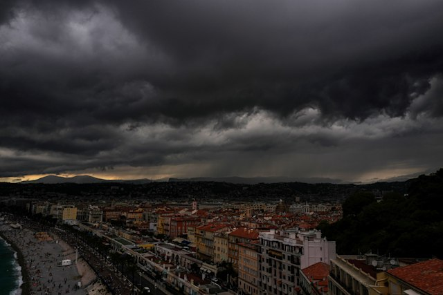 Dark clouds are seen over the Mediterranean sea as a storm approaches the French Riviera city of Nice, on August 12, 2019. (Photo by VALERY HACHE / AFP)        (Photo credit should read VALERY HACHE/AFP via Getty Images)
