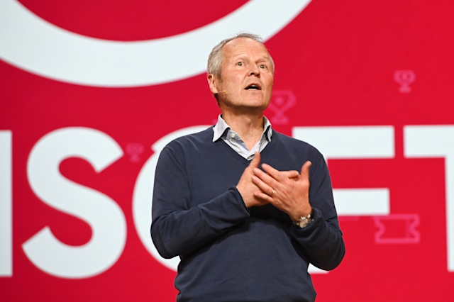 Ubisoft CEO Yves Guillemot speaks on stage at the Ubisoft E3 press conference in Los Angeles, June 10, 2019. - The E3 Electronic Entertainment Expo takes place at the Los Angeles Convention Center June 11-13. (Photo by Robyn Beck / AFP)        (Photo credit should read ROBYN BECK/AFP via Getty Images)