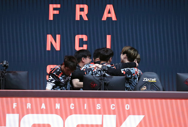 PHILADELPHIA, PA - SEPTEMBER 29: Players of the San Francisco Shock celebrate after winning the Overwatch League Grand Finals at the Wells Fargo Center on September 29, 2019 in Philadelphia, Pennsylvania. (Photo by Hunter Martin/Getty Images)