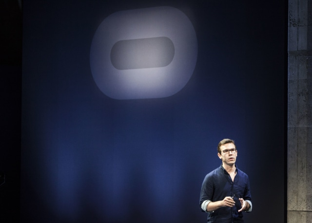 Nate Mitchell, Vice President of Product at Oculus VR Studios speaks during a media event to introduce the Oculus Rift virtual reality headset in San Francisco, California on Wednesday, June 11, 2015. (Photo by Ramin Talaie/Corbis via Getty Images)