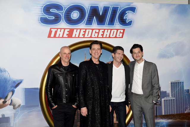 "LONDON, ENGLAND - JANUARY 30: Neal H. Moritz, Jim Carrey, Jeff Fowler and Ben Schwartz attends the ""Sonic The Hedgehog"" Gala Screening at Vue Westfield on January 30, 2020 in London, England. (Photo by Kate Green/Getty Images)"