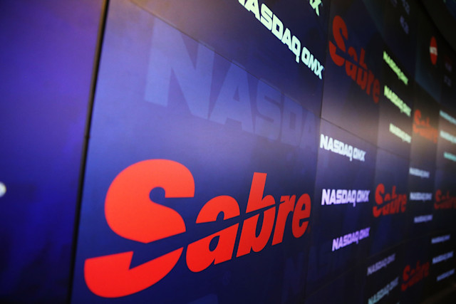 NEW YORK, NY - APRIL 17: The Sabre symbol is viewed moments after Sabre Corp. made its stock market debut on the Nasdaq exchange on April 17, 2014 in New York City. Shares of Sabre Corp, which owns online travel company Travelocity, rose over 3 percent in their stock market debut . (Photo by Spencer Platt/Getty Images)