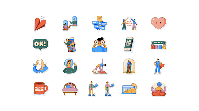 WhatsApp's new stickers to encourage social distancing,