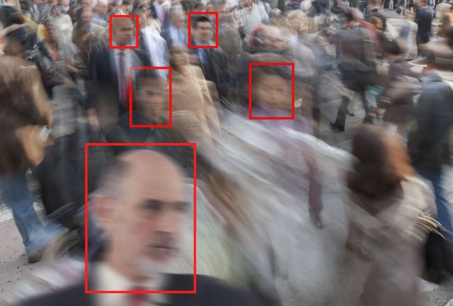 Facial recognition used on pedestrians on a New York Street.