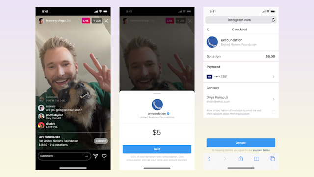 Instagram now lets broadcasters fundraise in live streams.