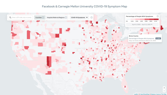 Facebook COVID-19 interactive map