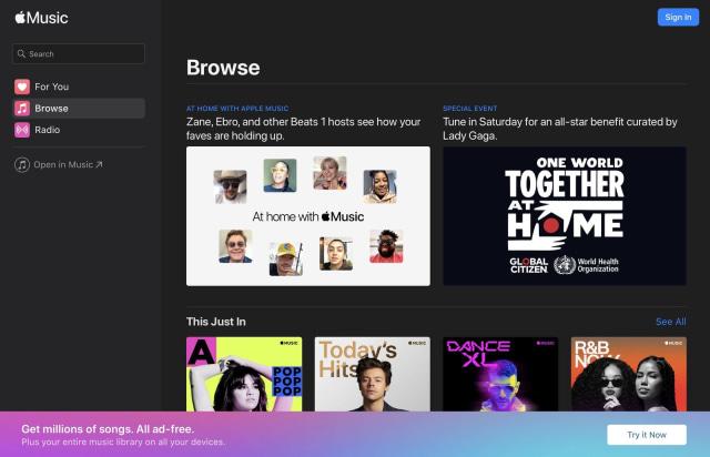 Apple Music web browser