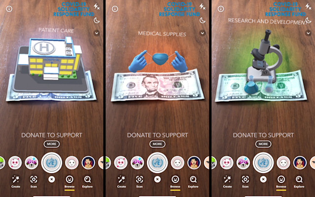 Snapchat COVID-19 Donation Lens