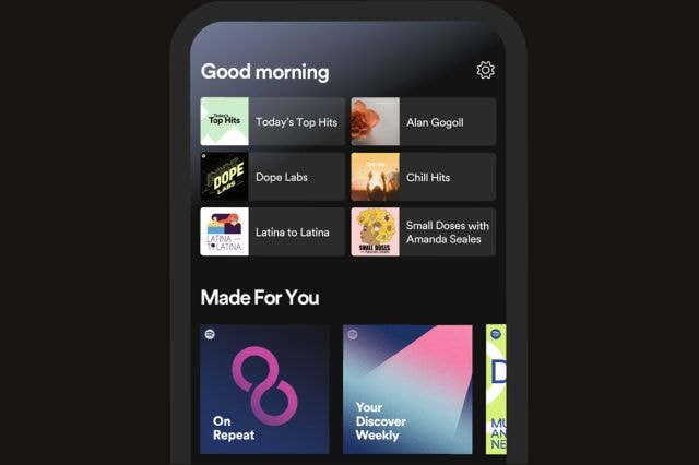 A screenshot of Spotify's redesigned mobile app