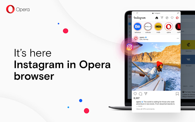 Instagram in Opera's desktop web browser