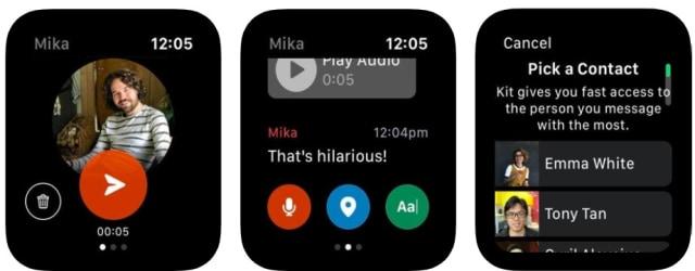 Screenshots of Facebook's Kit messaging app for Apple Watch