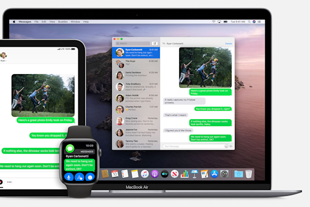 Messages in macOS showing continuity with other devices