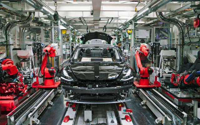 tesla factory floor assembly line