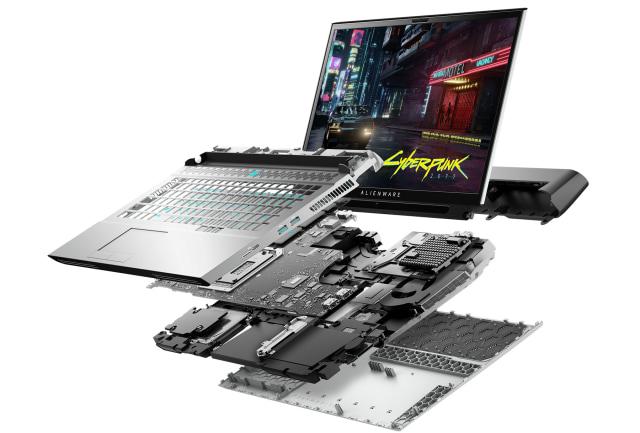 Alienware Area-51m laptop explodey view