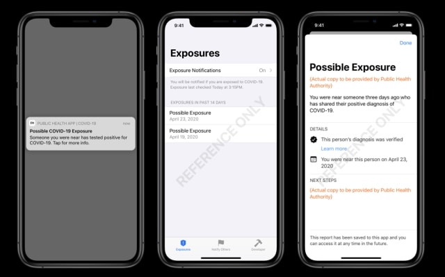 Sample screenshots of Apple and Google's upcoming exposure notification system.