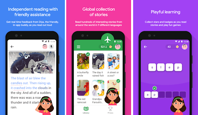 Promo images for Google's Read Along app, describing some of the features.