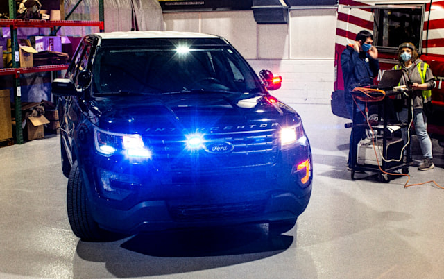 Ford uses heat to disinfect police vehicles.